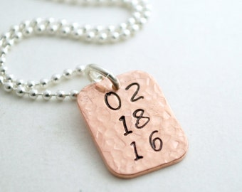 Personalized Necklace with Date - Anniversary Jewelry Sobriety Date Hand Stamped Necklace Gift for Her