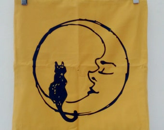 Cat on the Moon Screen Printed Cushion Cover