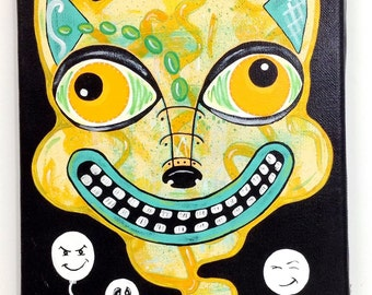 """Outsider Folk Art Cat Painting, """"BALLOON CAT"""", 10""""x8"""" Original Canvas Painting, Comical Ugly/Cute Cat Painting, Outsider Cat by Windwalker"""