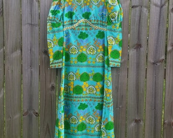 M L Medium Large Vintage 60s 70s Spring Long Sleeve Psychedelic Groovy Hippie Flower Power Trippy Statement Floral Print Maxi Dress