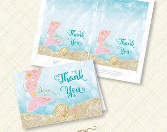 Pink Mermaid Thank You Card printable instant download folded pdf gold tail sea shell under the sea ocean watercolor thanks greeting diy