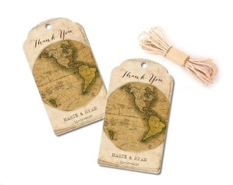 Custom Wedding Favor Tags, Travel Thank You Cards, Destination Wedding, Map Tags, Travel Party Favors, Baby or Bridal Shower, Set of 10