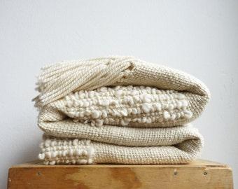 Wool Bed Cover Ecru - Wedding Gift Afghans Throw