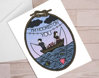 Hooked On You - Folded Greeting Card - Papercut Illustration - Love, Anniversary - Valentine's Day Card