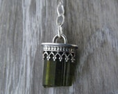 Powerful Green Tourmaline Sterling Silver Necklace