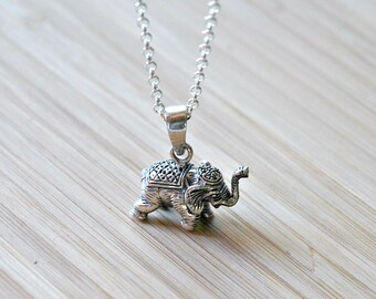 Elephant necklace, sterling silver elephant pendant, lucky charm, family, indian elephant, long necklace, gift for animal lover, utopia