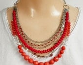 Red Bead Necklace, Multi Strand Silver Chains, Red Rhinestones, Orange Faceted Beads, Vintage Chain Bib Necklace