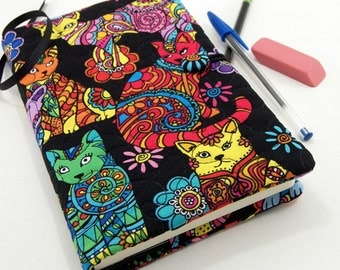 5 x 8 Inch Cat Journal Cover, Fabric Diary, Quilted Moleskine Slipcover - Colorful Cats on Black Fabric Notebook Cover