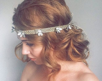 Gold Shimmery Headband - Prom Gold Sparkle Headband - Prom 1920s Even Gold Shimmer Headpiece - Great Gatsby