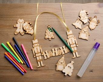 Christmas Kids craft activity, wooden ho ho ho sign making.