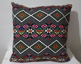Hand Painted Navajo Pillow Case , Aztec Pillow Cover ,Kilim Pillow , Neon Pillow Case , Ethnic Pillow Case