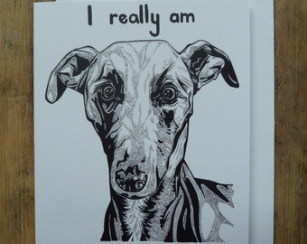 Sorry Whippet greetings card with white envelope, 11 x 13.5cm, sorry card, whippet card, dog card, blank inside, recycled card, apology card