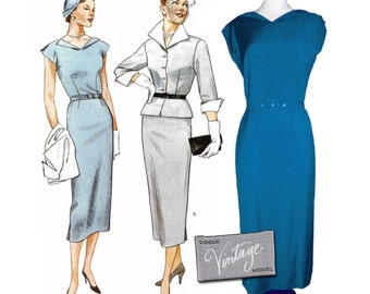 "1950 Vogue Vintage Fold-back Neckline Fitted Dress, Peplum Jacket, Cuffs, Re-Issued Vogue 2402, Sz 6-10, Bust 30""-33"", Uncut, Label Included"