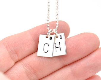 Periodic Table Necklace   Hand Stamped Necklace   Periodic Elements Charms   Initial Pendant for Moms   Ships in ONE Day
