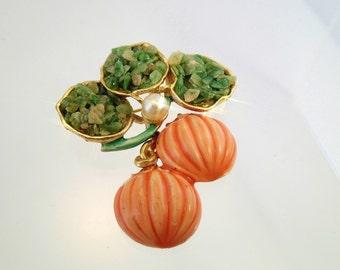 FREE Shipping Vintage BSK Signed Enamel Pumpkin Dangle Brooch Pin Faux Pearl Jade Stone Chip