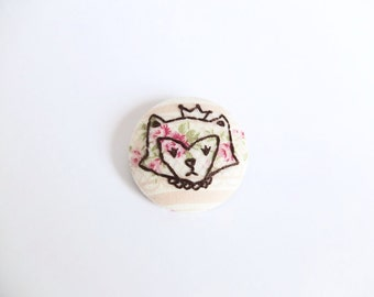 Fox embroidery brooch, gifts under 50, one of a kind, limited edition, little miss fox, princess fox