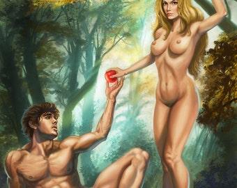 13x17 Signed Erotic Adam and Eve in the Garden of Eden Print