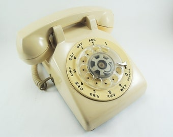 Vintage Rotary Dial WORKING Desk Phone, Western Electric Bell Systems AT&T, Rotary Phone, Beige Desk Phone, Made in USA, Industrial Decor
