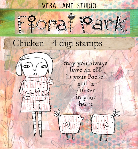 Chicken - whimsical and quirky gal with chickens and sentiment - digi stamp set available for instant download