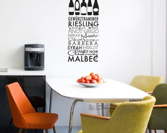 Wine Title List with Wine Bottles Urban Quote Pattern  - Wall Decal Custom Vinyl Art Stickers