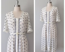 30s embroidered dress size large / vintage embroidered dress