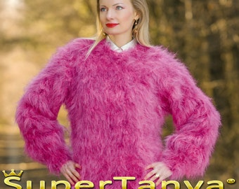 Thick fuzzy hand knitted mohair sweater, fuzzy soft jersey in neon pink and purple by SuperTanya
