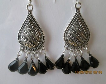 Silver Tone Chandelier Earrings with Black Teardrop Crystal Bead Dangles