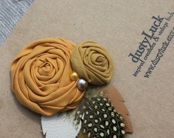 Yellow Rose Rustic Leather Hair Clip // Recycled Leather Rose Hair Clip Rose Mustard Yellow // Ready to Ship Hair Clip