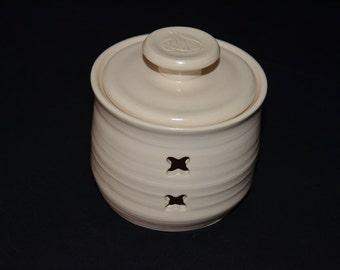 Satin White Garlic Jar