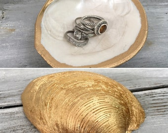 Gold Leaf Shell Ring Holder/Wedding Party Gift/Shell Jewelry Dish