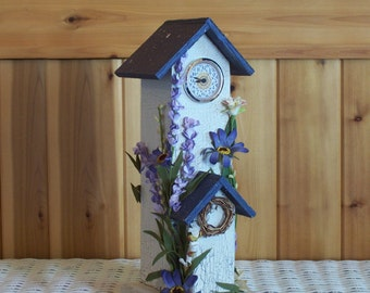 Rustic Wood Birdhouse with Clock and Flowers