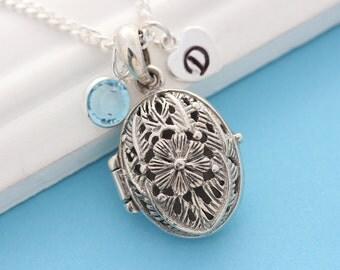 Oval lockets, solid sterling silver Filigree locket necklace, Personalized Locket. Personalized Charms, Choose chain, Silver Flowers Locket.