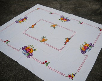 Vintage Cross Stitch Tablecloth, Cutter, Lovely Cross Stitch Fruit, Beautiful Colors