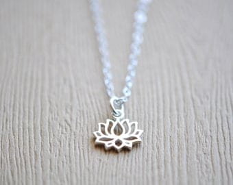 Lotus Necklace Lotus Charm Necklace Sterling Silver Lotus Flower Necklace Yoga Jewelry Meditation Jewelry