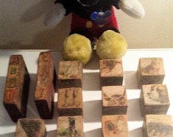 Very Vintage Wood Toy Blocks - Alphabet - Animals - 15 Pieces - Assorted Sizes - Photo Prop - Window Display