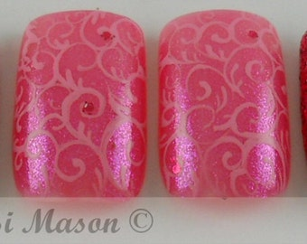 Glittery Pink Arabesques Instant Acrylic Nail Set
