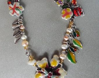 dragon fly lady bug enameled flowers freshwater pearls rhinestones Y necklace