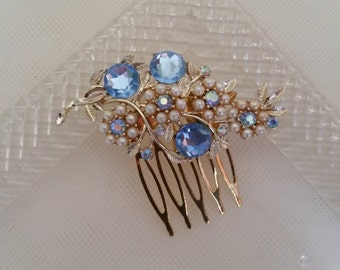 VINTAGE BRIDAL Hair Comb Assemblage Pearls Rhinestones Light Sky Blue Gold Something Blue Mother of the Bride Hair Accessories One of a Kind