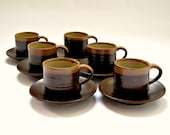 Set of Six Vintage Welsh Studio Pottery Cups and Saucers