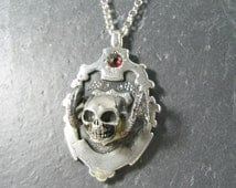 Antique salvage silver watch fob set with Garnet precious stone & Sterling Silver Pan Skull necklace strung on vintage solid silver chain