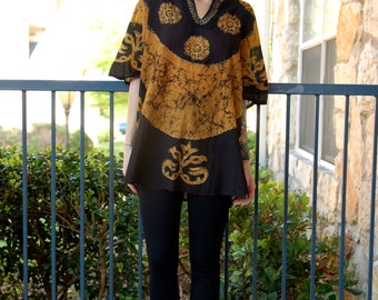 Sheer Tribal Ethnic Embroidered Oversized Tunic Top Blouse // One Size fits most
