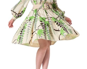 1960s Donald Brooks Floral Printed Silk Belted Dress SIZE: S, 4