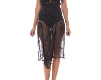 Morphew Lab Beaded 1920s Style Sheer Dress Made W Black Edwardian Lace From 1910