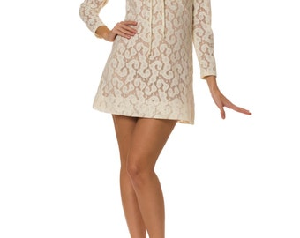 Vintage 1960s Psychedelic Mod Lace Mini Dress Size: XS