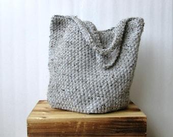 Large Rustic Crochet Bag / Grey Travel Bag / Chunky Wool Overnight Bag / Crochet Tote