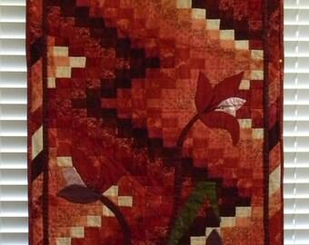 Maroon Floral, Fiber Art/Art Quilt, Abstract