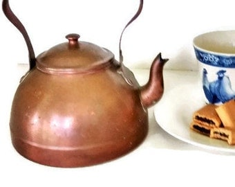 Vintage Copper Tea Kettle, Made in Portugal, Wood Handle, Rustic Cottage Kitchen, Patina, French Country Kitchen