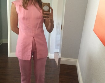1960's Mod Three Piece Suit in Pink, size small