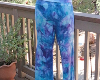 Lady's  Chakra Yoga Pants, Ice Dyed Tie Dyed in Shades Of Blue,  Agate Design. Roll Waist,  Made To Order