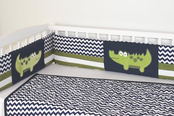 Crib Bumper, Alligator Baby Boy Bedding, Off White Navy Chevron,  Green